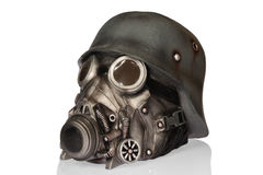 Military Helmet with Goggles and Gas Mask Royalty Free Stock Photo