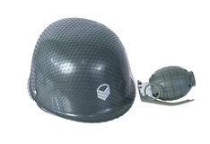 Military Helmet and Grenade Royalty Free Stock Image