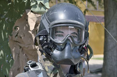 Military helmet with mask Royalty Free Stock Photography