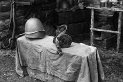 Military helmet and submachine gun Shpagina, reconstruction of life and subjects of second world war Stock Photography