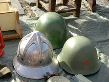 Military helmets. Exhibited at the fair for sale Stock Images