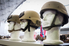 Military helmets at Militalia 2013 in Milan, Italy Royalty Free Stock Photography