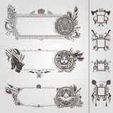 Military heraldic banners with weapon and lions Stock Image