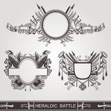 Military heraldic old banners of battle or vintage coasts of arms Royalty Free Stock Image