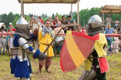 Military and historical festival. Reconstruction. Knight stock photography