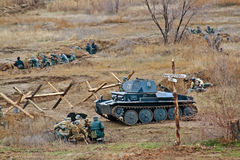 Military-historical reconstruction of beginning of the Soviet counter-offensive at Stalingrad in Volgograd. Stock Photos