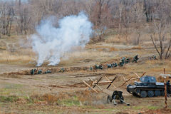 Military-historical reconstruction of beginning of the Soviet counter-offensive at Stalingrad in Volgograd. Stock Photography