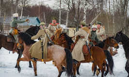 Military-historical reconstruction of fights of times of the First World  on the Borodino field on March 13, 2016 Royalty Free Stock Photography
