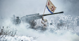 Military historical reconstruction of World War II Royalty Free Stock Image