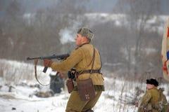 Military historical reconstruction of World War II Stock Photos