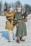 Military historical reenactment «Feat of Alexander Matrosov». Russian Federation, Pskov district, Velikie Luki - 23 February 2018: military historical Royalty Free Stock Photos