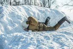 Military historical reenactment «Feat of Alexander Matrosov». Russian Federation, Pskov district, Velikie Luki - 23 February 2018: military historical Royalty Free Stock Images