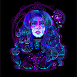 Military horoscope: Aquarius. Crying girl. Done in neon art Stock Illustration