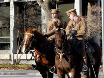 Military On Horseback In Remembrance Service stock images