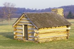Military housing for soldiers lead by George Washington during the American Revolution at Valley Forge, PA Stock Photo