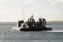 Military hovercraft silhouette Stock Image