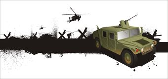 Military hummer Jeep in grune style Stock Images