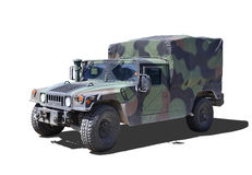 Military Humvee. Military Dirty Humvee on a white background. With clipping paths stock photography