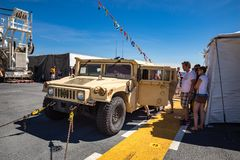 Armored military Humvee on display. Military Humvee on display at Seattle Seafair on the deck of the USS Boxer Royalty Free Stock Photography