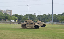 Military Humvee vehicles display Stock Image