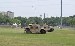 Military Humvee vehicles display Stock Image