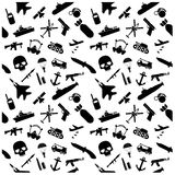 Military icons and Background pattern Royalty Free Stock Image