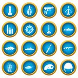 Military icons blue circle set Royalty Free Stock Photo
