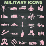 Military icons  drawn with chalk Royalty Free Stock Photo