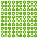 100 military icons hexagon green. 100 military icons set in green hexagon isolated vector illustration Stock Photography