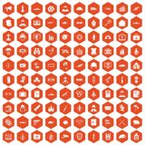 100 military icons hexagon orange Royalty Free Stock Images