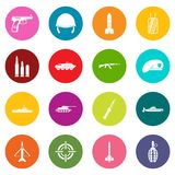 Military icons many colors set Royalty Free Stock Photos