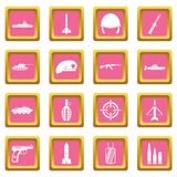 Military icons pink Stock Photography