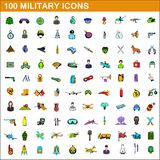 100 military icons set, cartoon style. 100 military icons set in cartoon style for any design illustration vector illustration