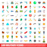 100 military icons set, cartoon style Stock Photo