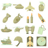 Military icons set, cartoon style Royalty Free Stock Image