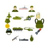 Military icons set, flat style. Military icons set. Flat illustration of 16 military icons for web royalty free illustration