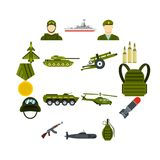 Military icons set, flat style. Military icons set. Flat illustration of 16 military vector icons for web Royalty Free Illustration