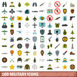 100 military icons set, flat style. 100 military icons set in flat style for any design vector illustration Stock Images