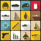 Military icons set, flat style. Military icons set in flat style. Army equipment set collection vector illustration Royalty Free Stock Photo