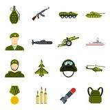 Military icons set, flat style. Military icons set. Flat illustration of 16 military vector icons for web Vector Illustration
