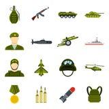Military icons set, flat style. Military icons set. Flat illustration of 16 military icons for web stock illustration
