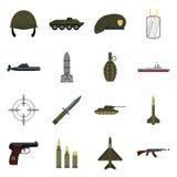 Military icons set, flat style Stock Photos