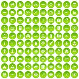 100 military icons set green. 100 military icons set in green circle isolated on white vectr illustration Royalty Free Stock Photography