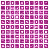 100 military icons set grunge pink. 100 military icons set in grunge style pink color isolated on white background vector illustration Stock Photos