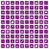 100 military icons set grunge purple. 100 military icons set in grunge style purple color isolated on white background vector illustration Royalty Free Stock Photo