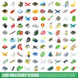 100 military icons set, isometric 3d style. 100 military icons set in isometric 3d style for any design illustration stock illustration