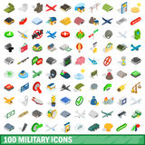 100 military icons set, isometric 3d style Stock Photos
