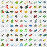 100 military icons set, isometric 3d style Royalty Free Stock Photography