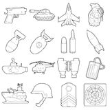 Military icons set, outline cartoon style Stock Images