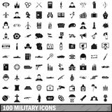100 military icons set, simple style Stock Photography